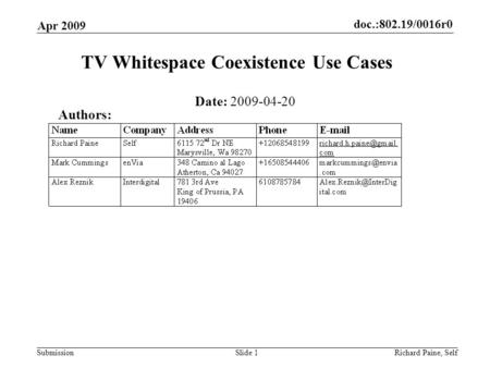 Doc.:802.19/0016r0 Submission Apr 2009 Richard Paine, SelfSlide 1 TV Whitespace Coexistence Use Cases Date: 2009-04-20 Authors: