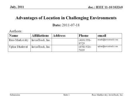 Submission doc.: IEEE 11-10/1033r0 July, 2011 Russ Markhovsky, InvisiTrack, Inc.Slide 1 Advantages of Location in Challenging Environments Date: 2011-07-18.