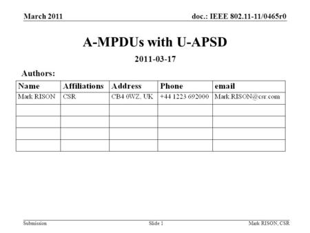 Doc.: IEEE 802.11-11/0465r0 Submission March 2011 Mark RISON, CSRSlide 1 A-MPDUs with U-APSD 2011-03-17 Authors: