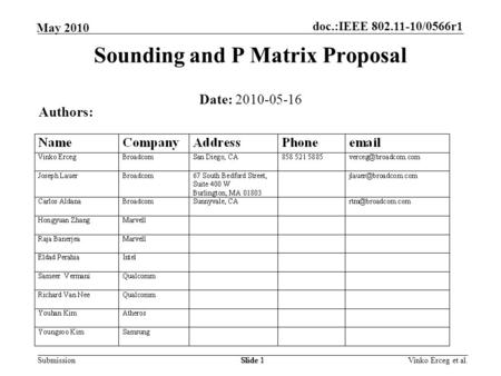 Sounding and P Matrix Proposal