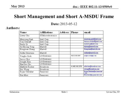 Doc.: IEEE 802.11-13/0509r0 SubmissionSlide 1 Short Management and Short A-MSDU Frame Date: 2013-05-12 Authors: Liwen Chu, ST May 2013.