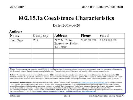 Doc.: IEEE 802.19-05/0018r0 Submission June 2005 Tom Siep, Cambridge Silicon Radio PlcSlide 1 802.15.1a Coexistence Characteristics Notice: This document.