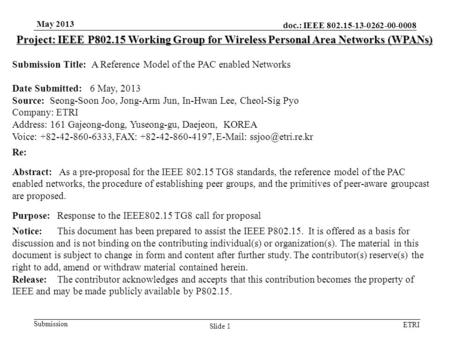 Doc.: IEEE 802.15-13-0262-00-0008 Submission ETRI May 2013 Slide 1 Project: IEEE P802.15 Working Group for Wireless Personal Area Networks (WPANs) Submission.