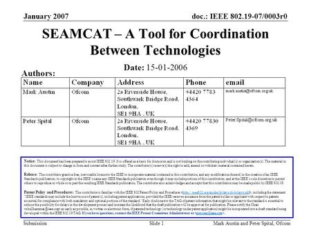 Doc.: IEEE 802.19-07/0003r0 Submission January 2007 Mark Austin and Peter Spital, OfcomSlide 1 SEAMCAT – A Tool for Coordination Between Technologies Notice: