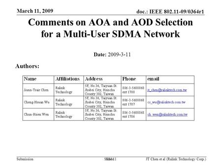 Doc.: IEEE 802.11-09/0364r1 Submission March 11, 2009 JT Chen et al (Ralink Technology Corp.) Slide 1 Comments on AOA and AOD Selection for a Multi-User.
