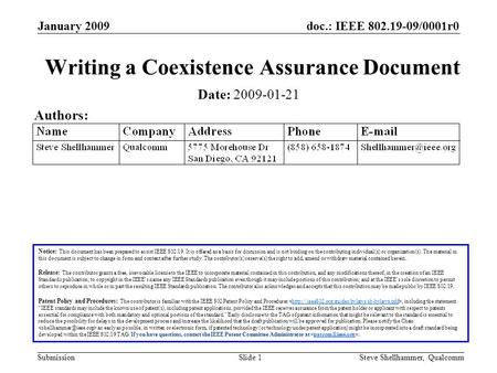 Doc.: IEEE 802.19-09/0001r0 Submission January 2009 Steve Shellhammer, QualcommSlide 1 Writing a Coexistence Assurance Document Notice: This document has.