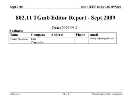 Doc.: IEEE 802.11-09/0953r0 Submission Sept 2009 Adrian Stephens, Intel CorporationSlide 1 802.11 TGmb Editor Report - Sept 2009 Date: 2009-09-21 Authors: