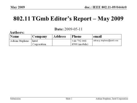 Doc.: IEEE 802.11-09/0444r0 Submission May 2009 Adrian Stephens, Intel CorporationSlide 1 802.11 TGmb Editors Report – May 2009 Date: 2009-05-11 Authors: