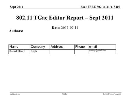 Doc.: IEEE 802.11-11/1184r0 Submission Sept 2011 Robert Stacey, AppleSlide 1 802.11 TGac Editor Report – Sept 2011 Date: 2011-09-14 Authors: