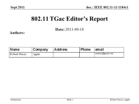 Doc.: IEEE 802.11-11/1184r1 Submission Sept 2011 Robert Stacey, AppleSlide 1 802.11 TGac Editors Report Date: 2011-09-18 Authors: