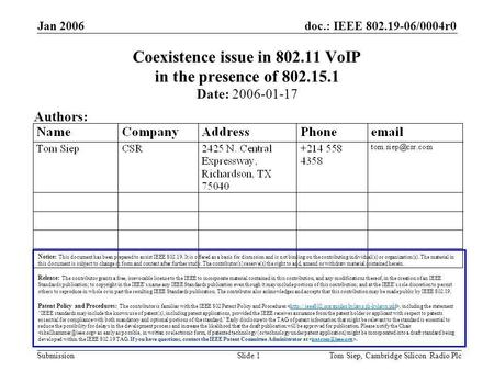 Doc.: IEEE 802.19-06/0004r0 Submission Jan 2006 Tom Siep, Cambridge Silicon Radio PlcSlide 1 Coexistence issue in 802.11 VoIP in the presence of 802.15.1.