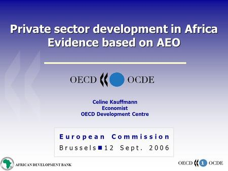 1 AFRICAN DEVELOPMENT BANK Private sector development in Africa Evidence based on AEO European Commission Brussels 12 Sept. 2006 Celine Kauffmann Economist.