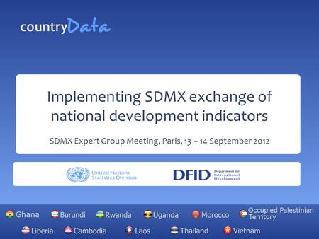 Implementing SDMX exchange of national development indicators SDMX Expert Group Meeting, Paris, 13 – 14 September 2012.