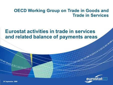 24 September 2008 Eurostat activities in trade in services and related balance of payments areas OECD Working Group on Trade in Goods and Trade in Services.