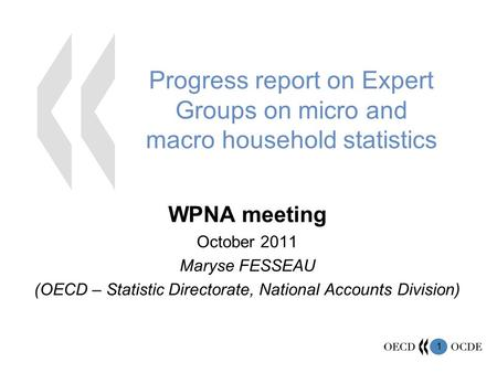 1 Progress report on Expert Groups on micro and macro household statistics WPNA meeting October 2011 Maryse FESSEAU (OECD – Statistic Directorate, National.