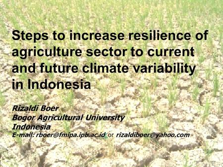 Steps to increase resilience of agriculture sector to current and future climate variability in Indonesia Rizaldi Boer Bogor Agricultural University Indonesia.