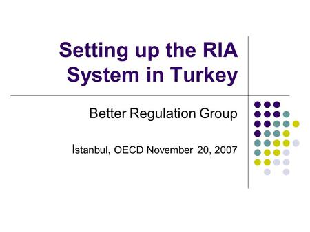 Setting up the RIA System in Turkey Better Regulation Group İstanbul, OECD November 20, 2007.