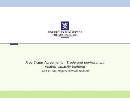 Free Trade Agreements: Trade and environment related capacity building Nina C. Rør, Deputy Director General.