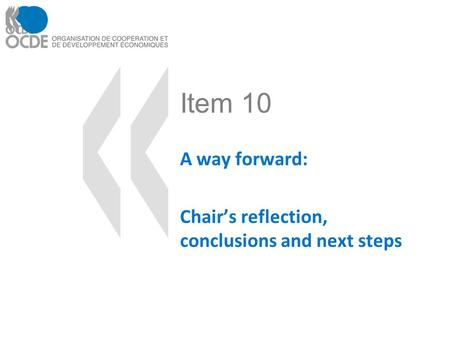 Item 10 A way forward: Chairs reflection, conclusions and next steps.