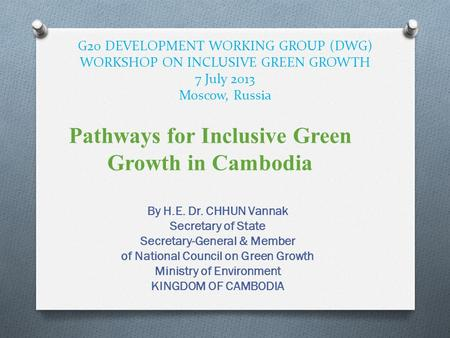 Pathways for Inclusive Green Growth in Cambodia
