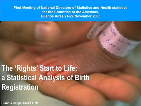 First Meeting of National Directors of Statistics and Health statistics for the Countries of the Americas, Buenos Aires 21-22 November 2005 The Rights.