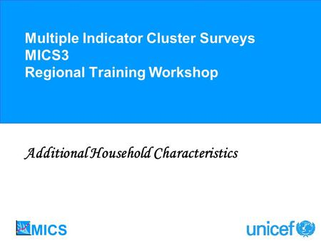 Multiple Indicator Cluster Surveys MICS3 Regional Training Workshop Additional Household Characteristics.