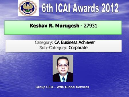 Keshav R. Murugesh - 27931 Keshav R. Murugesh - 27931 Category: CA Business Achiever Category: CA Business Achiever Sub–Category: Corporate Category: CA.