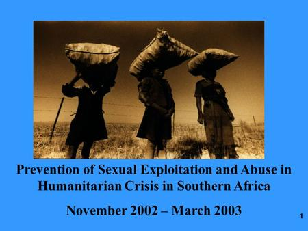 1 Prevention of Sexual Exploitation and Abuse in Humanitarian Crisis in Southern Africa November 2002 – March 2003.