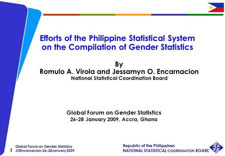 Global Forum on Gender Statistics JOEncarnacion/26-28January 2009 Republic of the Philippines NATIONAL STATISTICAL COORDINATION BOARD 1 Efforts of the.