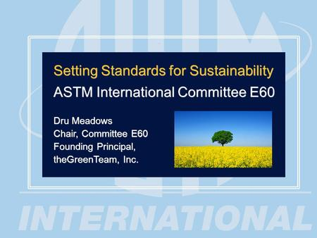 1 Setting Standards for Sustainability ASTM International Committee E60 Dru Meadows Chair, Committee E60 Founding Principal, theGreenTeam, Inc. Setting.