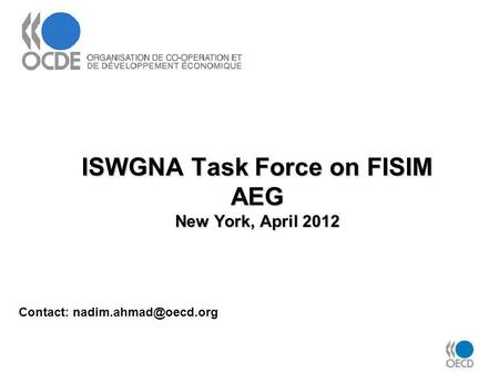 ISWGNA Task Force on FISIM AEG New York, April 2012 Contact: