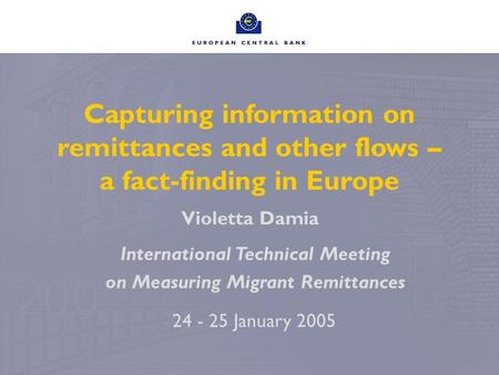 Capturing information on remittances and other flows – a fact-finding in Europe Violetta Damia 24 - 25 January 2005 International Technical Meeting on.