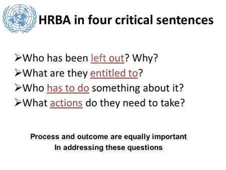 HRBA in four critical sentences Who has been left out? Why? What are they entitled to? Who has to do something about it? What actions do they need to take?