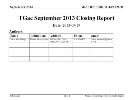 Doc.: IEEE 802.11-13/1226r0 Submission September 2013 Osama Aboul-Magd (Huawei Technologies)Slide 1 TGac September 2013 Closing Report Date: 2013-09-19.