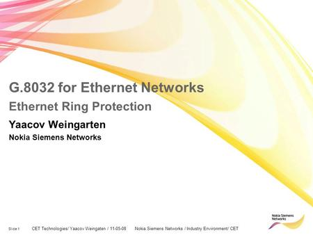 G.8032 for Ethernet Networks Ethernet Ring Protection