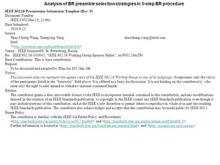 Analysis of BR preamble selection strategies in 5-step BR procedure IEEE 802.16 Presentation Submission Template (Rev. 9) Document Number: IEEE C80216m-10_1249r1.