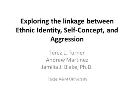 Exploring the linkage between Ethnic Identity, Self-Concept, and Aggression Terez L. Turner Andrew Martinez Jamilia J. Blake, Ph.D. Texas A&M University.