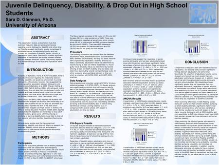 Juvenile Delinquency, Disability, & Drop Out in High School Students Sara D. Glennon, Ph.D. University of Arizona ABSTRACT RESULTS CONCLUSION This presentation.