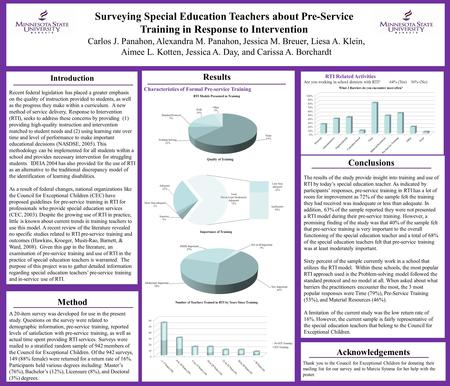 Surveying Special Education Teachers about Pre-Service Training in Response to Intervention Results Method A 20-item survey was developed for use in the.