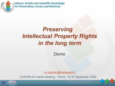 Preserving Intellectual Property Rights in the long term CASPAR All Hands Meeting - Rome, 15-16 September 2009 Demo
