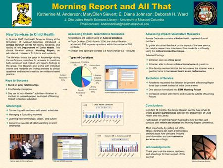 Morning Report and All That Katherine M. Anderson; MaryEllen Sievert; E. Diane Johnson; Deborah H. Ward J. Otto Lottes Health Sciences Library – University.