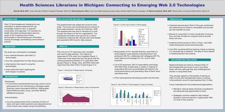 Health Sciences Librarians in Michigan: Connecting to Emerging Web 2.0 Technologies INTRODUCTION DATA COLLECTION AND ANALYSIS RESULTS (cont) Web 2.0 technologies.