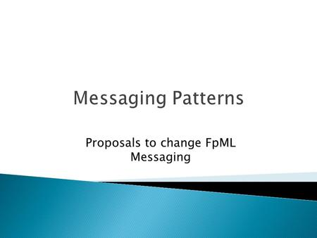 Proposals to change FpML Messaging. Correlation Acknowledgements Exception modelling Advice vs. Notification Corrections On behalf of Trade Roles Trade.