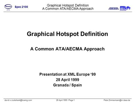 Graphical Hotspot Definition A Common ATA/AECMA Approach Spec 2100 28 April 1999 / Page Graphical.