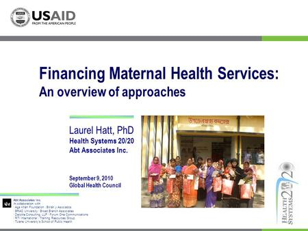 Financing Maternal Health Services: An overview of approaches
