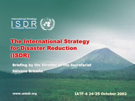 Www.unisdr.org Briefing by the Director of the Secretariat Sálvano Briceño IATF-6 24-25 October 2002.