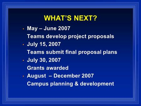 WHATS NEXT? May – June 2007 Teams develop project proposals July 15, 2007 Teams submit final proposal plans July 30, 2007 Grants awarded August – December.