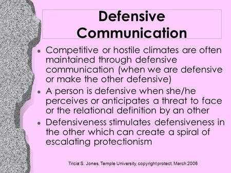Defensive Communication