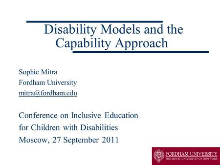 Disability Models and the Capability Approach