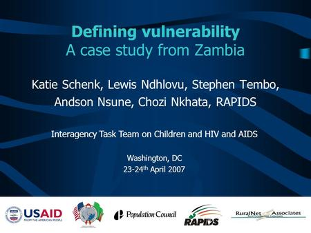Defining vulnerability A case study from Zambia